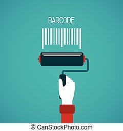barcode, quadro, vetorial, conceito, em, apartamento, estilo