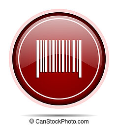 Barcode red glossy round web icon. Circle isolated internet button for webdesign and smartphone applications.
