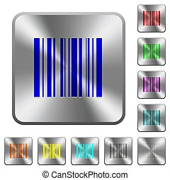 Barcode rounded square steel buttons