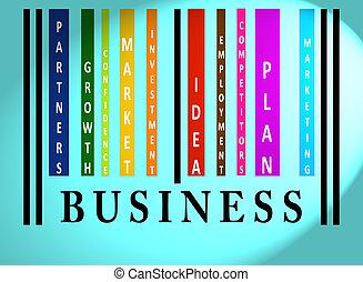 barcode, słowo, barwny, handlowy