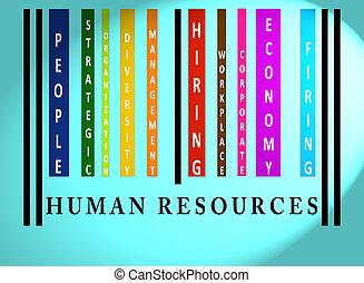 barcode, słowo, barwny, ludzkie zasoby