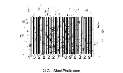 barcode scanner by barcode reader. Closeup on array of...
