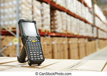 barcode, scanner, em, armazém