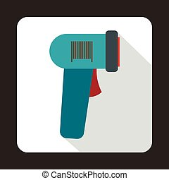 Barcode scanner icon in flat style