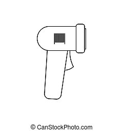 Barcode scanner icon, outline style