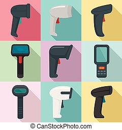 Barcode scanner icons set, flat style