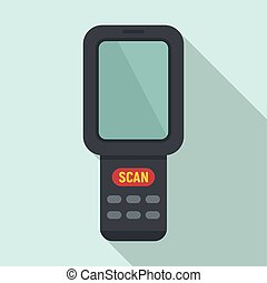 Barcode scanner monitor icon, flat style