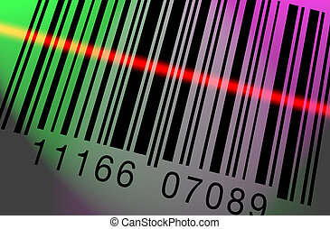 Barcode Scanning Colorful - Barcode being scanned on a...