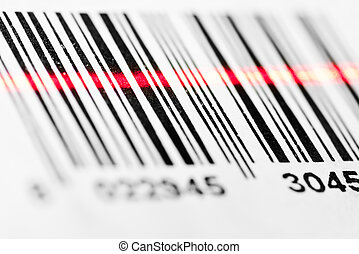 Barcode scanning - Barcode scanned by laser reader closeup