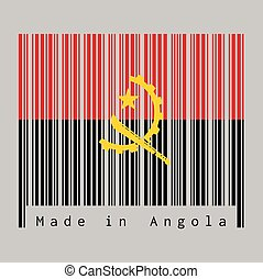 Barcode set the color of Angola flag, red and black with the Machete and Gear Emblem on grey background with text: Made in Angola.