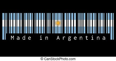 Barcode set the color of Argentina flag, blue and white with Sun of May on black background with text: Made in Argentina.