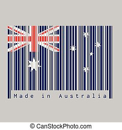 Barcode set the color of Australia flag, blue red and white color with white star and Union Jack with text: Made in Australia.