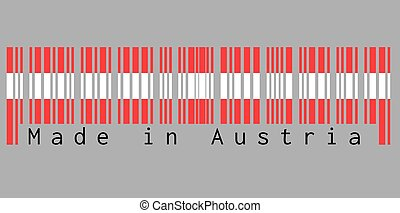 Barcode set the color of Austria flag,  red and white color with text: Made in Austria.
