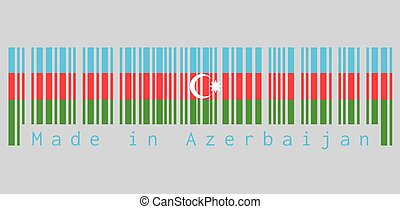 Barcode set the color of Azerbaijan flag, blue, red, and green, with a white crescent and star on grey background, text: Made in Azerbaijan.