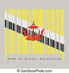 Barcode set the color of Brunei flag,  red crest on yellow field cut by black and white diagonal stripes, text: Made in Brunei.