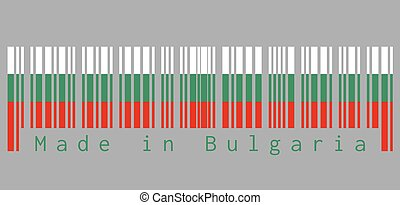 Barcode set the color of Bulgaria flag, white green and red color, text: Made in Bulgaria.