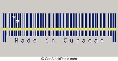 Barcode set the color of Curacao flag, blue field with a horizontal yellow stripe slightly below the midline and two white stars. text: Made in Curacao