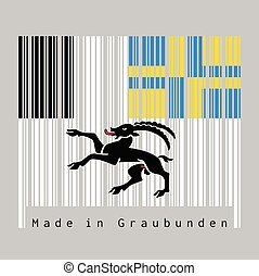Barcode set the color of graubunden flag, The canton of Switzerland with text Made in graubunden.