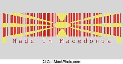 Barcode set the color of Macedonia flag, yellow sun on a red field, with eight broadening rays extending from the centre to the edge. text: Made in Macedonia.