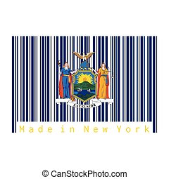 Barcode set the color of New York flag, coat of arms of the state of New York on blue field. text: Made in New York.
