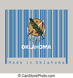 Barcode set the color of Oklahoma flag, Buffalo-skin shield with seven eagle feathers on a sky blue field. text: Made in Oklahoma.