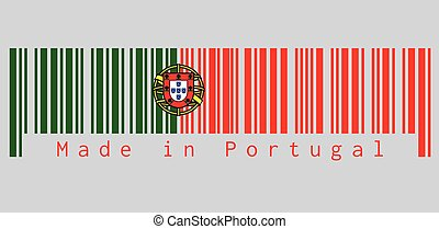 Barcode set the color of Portugal. flag, 2:3 vertically striped bicolor of green and red, with coat of arms of Portugal centred over the color boundary.
