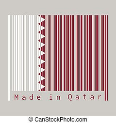 Barcode set the color of Qatar flag, a white band on the hoist side, separated from a maroon area on the fly side by nine white triangles which act as a serrated line.