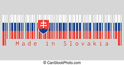 Barcode set the color of Slovak flag, white blue and red; charged with a shield containing a white cross is placed to left of center. text: Made in Slovakia, concept of sale or business.