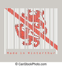 Barcode set the color of Winterthur flag, The canton of Switzerland with text Made in Winterthur.