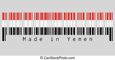 Barcode set the color of Yemen flag, a horizontal tricolour ...