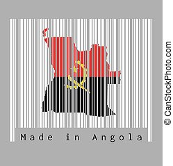 Barcode set the shape to Angola map outline and the color of Angola flag on white barcode with grey background, text: Made in Angola.