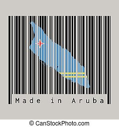 Barcode set the shape to Aruba map outline and the color of Aruba flag on black barcode with grey background, text: Made in Aruba.
