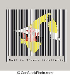 Barcode set the shape to Brunei map outline and the color of Brunei flag on black barcode with grey background, text: Made in Brunei Darussalam.
