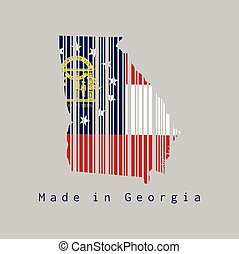 Barcode set the shape to Georgia map outline and the color of Georgia flag on grey background, text: Made in Georgia. The states of America