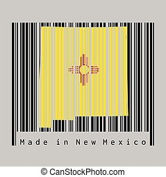 Barcode set the shape to New Mexico map outline and the color of New Mexico flag on black barcode with grey background, text: Made in New Mexico.