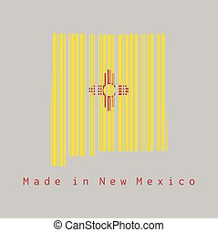 Barcode set the shape to New Mexico map outline and the color of New Mexico flag on grey background, text: Made in New Mexico.