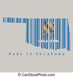 Barcode set the shape to Oklahoma map outline and the color of Oklahoma flag on grey background, text: Made in Oklahoma.