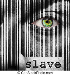 Barcode with the word slave as concept superimposed on a man's face