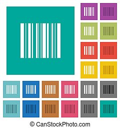 Barcode square flat multi colored icons