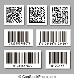 barcode, stickers., qr, collection, ensemble, code, étiquette