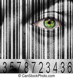 Barcode superimposed on a mans face to suggest the concept...