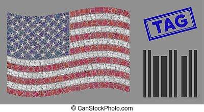 barcode, usa, cachet, étiquette, stylization, grunge, drapeau