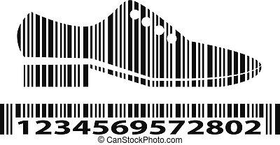 barcode, vecteur, chaussures, illustration.