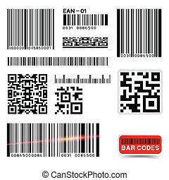 barcode, vector, colección, etiqueta