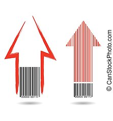 Barcode with red arrows
