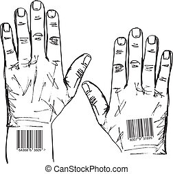 barcoded, skiss, vektor, hands., illustration