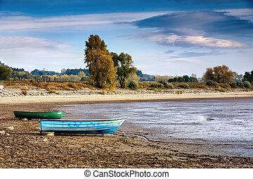 barcos, agua, río, sequía, sin