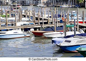 barcos, amarrado, venecia