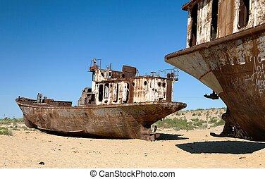 barcos, aral, -, desierto, mar