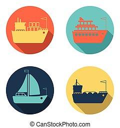 barcos, barcos, carga, logística, transporte, y, envío, plano, iconos